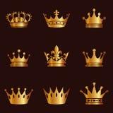Kolekcja korony sylwetka Monarchii władza i królewscy symbole Złote rocznika antyka ikony Korona symbol dla twój strony interneto royalty ilustracja