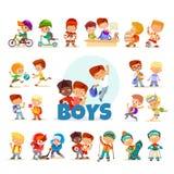 Kolekcja kreskówek chłopiec na białym tle Obraz Royalty Free