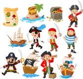 Kolekcja kreskówka pirat royalty ilustracja