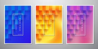 Kolekcja kwadrat textured tła z 3D stylami w błękitnym, pomarańcze i purpurach, royalty ilustracja