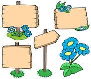 kolekcja kwitnie stoły drewnianych Fotografia Stock