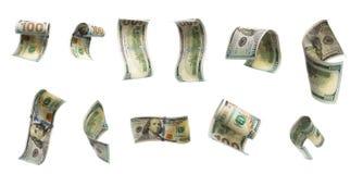 Kolekcja latający banknoty sto dolarów Widok od różnych kątów zdjęcie stock