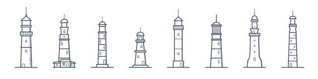 Kolekcja latarnie morskie różnorodni typ rysujący z konturowymi liniami na białym tle Plik nabrzeżny góruje royalty ilustracja