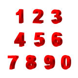 Kolekcja liczby odizolowywać na białym tle 3D Fotografia Stock