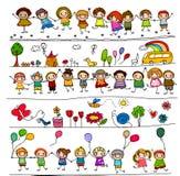 Kolekcja śliczni dzieciaków rysunki zwierzęta, rośliny i niebiańscy elementy, Zdjęcia Royalty Free