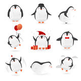 Kolekcja śliczni pingwinów charaktery śmieszny ptaka set wektor Fotografia Royalty Free