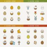 Kolekcja śliczny Wielkanocny ikona wektoru wizerunek Zdjęcie Royalty Free
