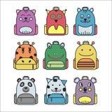 Kolekcja ślicznych dzieci szkolny plecak Obrazy Royalty Free