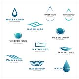 Kolekcja logowie dla wody i instalaci wodnokanalizacyjnej Wodny skojarzenie Zdjęcia Stock