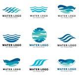 Kolekcja logowie dla wody i instalaci wodnokanalizacyjnej Wodny skojarzenie Ikony w wektorze Zdjęcie Stock