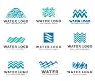Kolekcja logowie dla wody i instalaci wodnokanalizacyjnej Wodny skojarzenie Ikony w wektorze Fotografia Stock