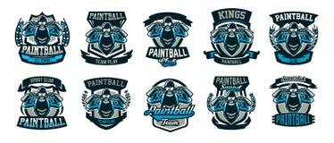 Kolekcja logowie, emblematy, osoba bawić się paintball trzyma dwa pistoletu Gra zespołowa, amunicja, mknący pasmo, wojna Obrazy Stock