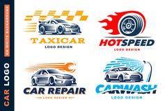 Kolekcja logowie samochody, taxi usługa, obmycie, naprawa, rywalizacje Fotografia Stock