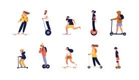 Kolekcja ludzie jedzie deskorolka, longboard i nowożytnych osobistych transportery, - hoverboard lub równoważenie deska royalty ilustracja