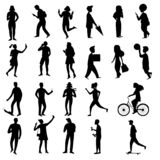 Kolekcja ludzie sylwetek, wektorowa ilustracja ilustracji