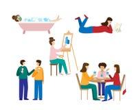 Kolekcja mężczyźni i kobiety wydaje weekend ilustracja wektor