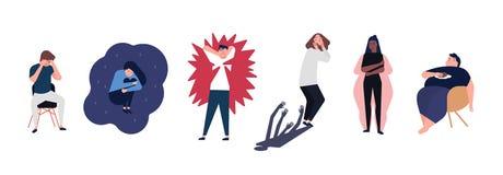 Kolekcja mężczyzna i kobiety z zaburzeń psychicznych, illnesses, nadszarpnięć, psychiatrycznych lub psychologicznych problemami,  ilustracji