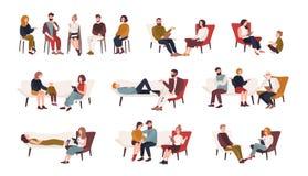 Kolekcja mężczyzna, kobiety i pary małżeńskie siedzi na i opowiada psychoterapeuta krzesłach lub lying on the beach na kanapie lu ilustracji