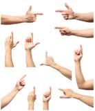 Kolekcja męskie ręki dotyka lub klika coś Obrazy Stock