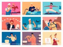 Kolekcja młodzi człowiecy i kobiety demonstruje ich umiejętności lub uczy przez interneta Plik wideo przewdoniki, DIY ilustracja wektor