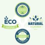 Kolekcja majchery i odznaki dla naturalnych produktów i eco jedzenia Wektorowe ilustracje dla ekologia składników ilustracji