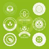 Kolekcja majchery i odznaki dla naturalnych produktów i eco jedzenia Wektorowe ilustracje dla ekologia składników ilustracja wektor