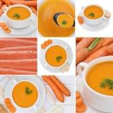 Kolekcja marchwiane zupne polewki z marchewkami w pucharze fotografia stock