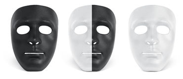Kolekcja maskowy czarny i biały odizolowywa Fotografia Stock
