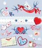 Kolekcja miłości poczta projekta elementy - ptaki, e Obraz Royalty Free