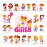 Kolekcja śmieszne kreskówek dziewczyny na bielu Zdjęcie Royalty Free