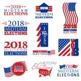 Kolekcja mnemoneutyka na połowa semestru wyborach ilustracja wektor