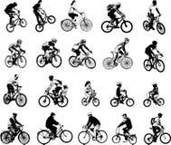 Kolekcja 20 nakreśleń bicyclists Zdjęcia Stock