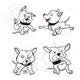 Kolekcja nakreślenie trakenu psy Odosobneni ręka rysunki royalty ilustracja