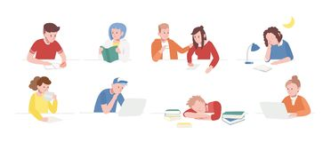 Kolekcja nastoletni chłopacy i dziewczyny siedzi przy biurkami z laptopami, czytelnicze książki, writing, śpi Set szkoła royalty ilustracja