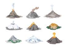 Kolekcja nieaktywni, aktywni volcanoes i, popiół chmury i lawę odizolowywających na bielu Zdjęcia Stock