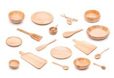 Kolekcja nowy drewniany kuchenny naczynie, puchar, talerz, łyżka, di Obraz Royalty Free