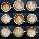 Kolekcja odgórny widok latte sztuki kawowi kubki Fotografia Stock