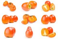 Kolekcja odizolowywająca na białej tło wycinance persimmon Obraz Royalty Free