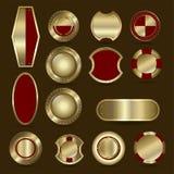 Kolekcja osłona, odznaka, etykietka, nagroda lub ribb czerwona i złota, ilustracji