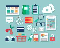 Kolekcja płaskie projekt ikony, komputer i urządzenia przenośne, cl Obraz Stock