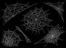 Kolekcja pajęczyna, odizolowywająca na czarnym, przejrzystym tle, Spiderweb dla projekta Pająk sieci elementy straszni, straszny, ilustracja wektor