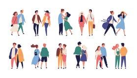 Kolekcja pary na romantycznej dacie Set nastoletni ch?opacy i dziewczyny trzyma r?ki, chodzi wp ilustracji