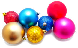 Kolekcja perfect kolorów bożych narodzeń piłki odizolowywać Fotografia Royalty Free