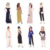 Kolekcja piękne młode kobiety w wieczór strojach Set dziewczyny jest ubranym eleganckie formalne suknie i kombinezon plik royalty ilustracja