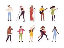 Kolekcja piosenkarzi z mikrofonami i muzykami odizolowywającymi na białym tle Set młodych człowieków i kobiet śpiewać royalty ilustracja