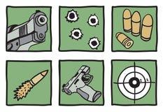 Kolekcja pistolety i pociski Obraz Royalty Free