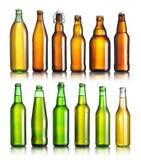 Kolekcja piwne butelki Obrazy Stock