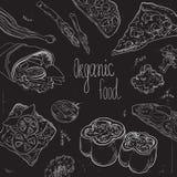 Kolekcja pociągany ręcznie jedzenie na blackboard Organicznie restauracyjny tło szablon na chalkboard Fotografia Stock