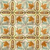 Kolekcja pomarańcze i zieleni wzorów płytki Fotografia Royalty Free