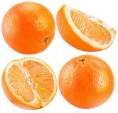 Kolekcja pomarańcze odizolowywać na białym tle Fotografia Royalty Free